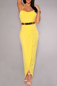 Sexy Halter Draped Gold Belted Yellow Maxi Dress - OASAP.com