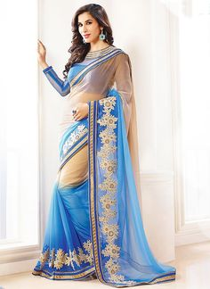 Spiffing Cream & Light Blue Chiffon Georgette Saree