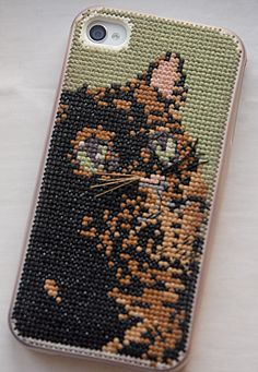 Presentable Blog - Cross-stitch Kitty Phone Case