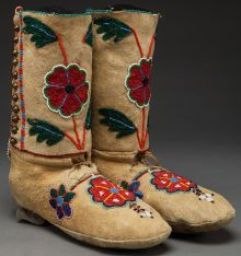 American Indian Art:Beadwork and Quillwork, A PAIR OF NEZ PERCE BEADED HIDE HIGHTOP MOCCASINS...