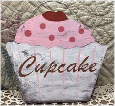 Shabby Cottage Pink Cupcake Wood Sign Custom
