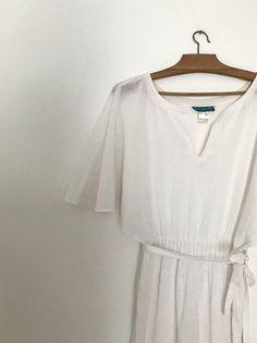 CACHAREL white babydoll dress / vintage midi dress / French