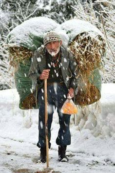 Turkish grandfather carrying firewood under a snow in the village. We Are The World, People Around The World, Around The Worlds, Working People, Life Is Hard, Belle Photo, Great Photos, First World, Beautiful People