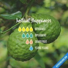 Instant Happiness - Essential Oil Diffuser Blend #Essentialoildiffusers