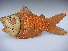 Old Vintage Mexican Folk Art Papier Paper Mache Fish 14 1 2 Long Signed Sermel | eBay