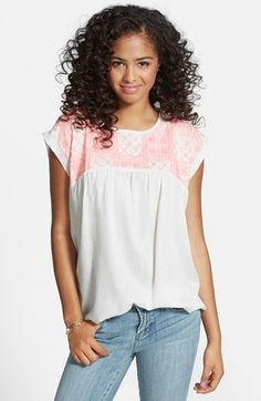 Angie Embroidered Yoke Tee (Juniors) (Online Only) available at #Nordstrom