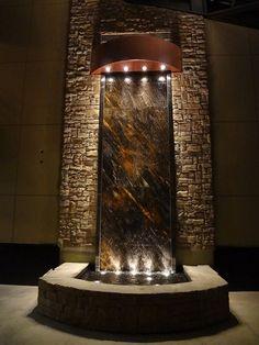 Indoor Wall Fountains, Indoor Pond, Indoor Fountain, Garden Fountains, Water Fountains, Fountain Ideas, Outdoor Fountains, Indoor Outdoor, Feng Shui