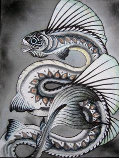 Sea Serpent 2 by verreaux on DeviantArt Mythical Sea Creatures, Deep Sea Creatures, Fantasy Creatures, Monster Tattoo, Sea Serpent, Sea Dragon, Alternative Art, Sea Monsters, Art Clipart