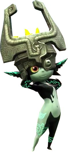 Midna from The Legend of Zelda: Twilight Princess. What a delightful sprite. Particularly like the design of her helmet. Need me a stone hat like that.