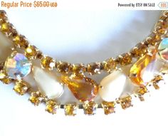 SALE VINTAGE Weiss Creamy Moonglow, Aurora Borealiis and Citrine Colored Rhinestones Prong Set Necklace with an Unique Design D1