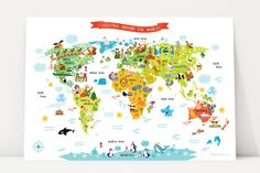 Christmas Around The World | Santa Claus Map Poster | Cute Christmas Gifts for Kids
