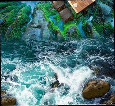 3d Floor Painting, Painting Wallpaper, Beach Wallpaper, Wall Wallpaper, Stairway Art, 3d Flooring, Painted Floors, Room Themes, Stairways