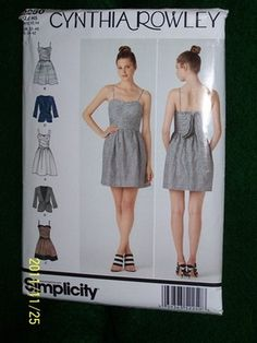 Simplicity CYNTHIA ROWLEY Pattern 2250H5 Misses' Dress in Two Lengths,Jacket NIP