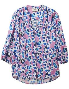 Pyrus Solace Painted Animal Blouse, a pink, white and turquoise blue leopard print Summer blouse with cropped sleeves and a v neck. This textured animal print shirt has buttons running down the front and elasticated cuffs. Dress Outfits, Fashion Dresses, Blouses Uk, Animal Print Shirts, Easy Shape, Pyrus, Summer Blouses, Bubblegum Pink, Blouse Dress