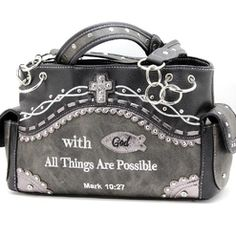 With God All Things are Possible Black and Gray Shoulder Bag Purse