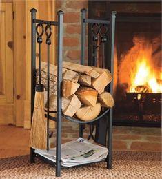 Firewood Storage Rack w Fireplace Tools Log Storage Kindling Hearth Accessories Indoor Firewood Rack, Firewood Holder, Firewood Shed, Wood Storage Rack, Storage Design, Storage Ideas, Storage Solutions, Wood Store, Fireplace Tools