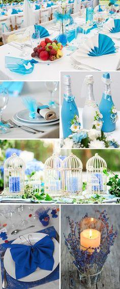 Tischdeko in Türkis \ Blau Türkis, Blau und Dekoration - gartenparty deko rustikal