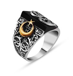 Men's Silver Turkish Islamic Ring Hand Crafted with Black Onyx and Crescent Moon