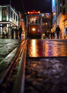 Istikial street, rain , Beyoglu, Istanbul