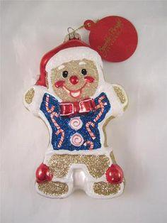 2012 Radko Sparkle Bright Christmas Gingerbread Man Glass Ornament NWT