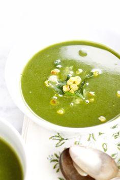 and poblano chile soup. Recipe in Spanish. Crema de espinaca y chile ...
