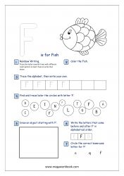 Lowercase Alphabet Recognition Activity Worksheet - Small Letter - f for fish Capital Letters Worksheet, Free Printable Alphabet Worksheets, English Worksheets For Kindergarten, Alphabet Tracing Worksheets, Printables, Preschool Lesson Plans, Preschool Letters, Alphabet Activities, Preschool Math