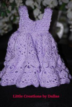 0-3 Months Crochet baby Purple Frilly Dress