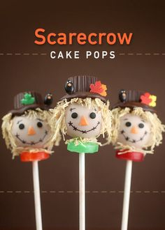 These Festive Scarecrow Pops Make the Perfect Fall Cake Pop Recipe #halloween #cakepops trendhunter.com