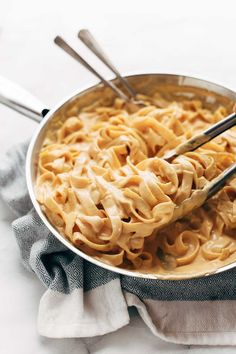 5 Ingredient Pumpkin Alfredo - creamy, luscious, and so super simple. Perfect fall comfort food! | pinchofyum.com