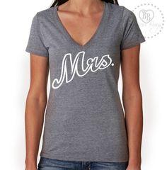 Mrs. - Cursive Design on Tri-blend V-neck Tee Shirt  by BijouBuys, $25.00. Check out the whole store! www.etsy.com/shop/BijouBuys ♥