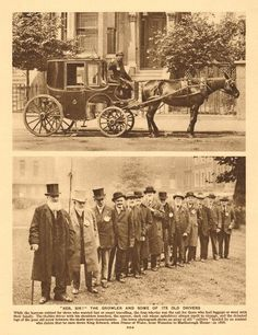 '' the growler and some of its old drivers; Vintage photographic book illustration, approximate size x x inches London History, British History, Vintage London, Old London, Vintage Photographs, Vintage Photos, London Landmarks, London Pictures, London Transport