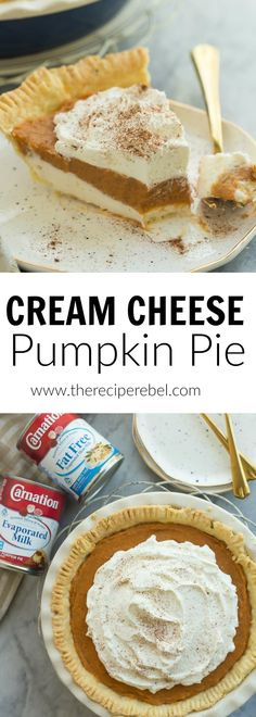 This is the ULTIMATE Pumpkin Pie! Complete with a homemade pie crust, creamy cheesecake layer and homemade pumpkin pudding on top, it is easily made no bake! (no bake oreo cheesecake tasty) Just Desserts, Delicious Desserts, Dessert Recipes, Pumpkin Recipes, Fall Recipes, Homemade Pumpkin Pie, Pumpkin Pies, No Bake Pumpkin Pie, Canned Pumpkin