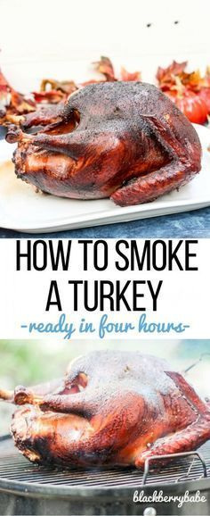 a whole turkey is easier than you think! Tips on how long to smoke, what type of wood to use, and how to brine the bird!Smoking a whole turkey is easier than you think! Tips on how long to smoke, what type of wood to use, and how to brine the bird! Traeger Recipes, Smoked Meat Recipes, Grilling Recipes, Smoke Turkey Recipes, Snack Recipes, Dinner Recipes, Smoked Whole Turkey, Traeger Smoked Turkey, Bbq Turkey