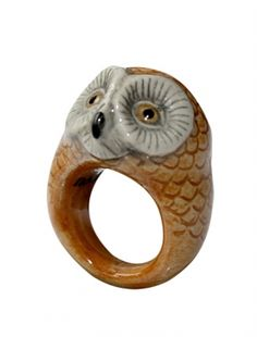porcelain barn owl ring