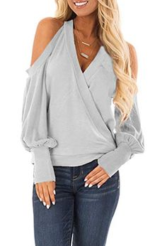 Yingkis Women's Cold Shoulder Tops Long Sleeve Deep V-Neck Wrap Front Blouse Loose Pullover,Light Grey S Look Fashion, Fashion Outfits, Womens Fashion, Fashion Tips, Casual Outfits, Cute Outfits, Sexy Blouse, Sexy Shirts, Shirt Outfit