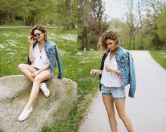 Get this look: http://lb.nu/look/8189863  More looks by Angela Doe: http://lb.nu/angeladoe  Items in this look:  Timezone Jeans Jacket, Timezone Shorts, Timezone Blouse   #casual #sporty #street