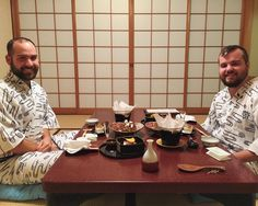 Last night in our Yukata at the Ryokan eating our incredible Kaiseki dinner.  more pics to follow. #Kaiseki #Ryokan #Miyajima #Yukata #travel #japan #HAEinJP by andrewodom