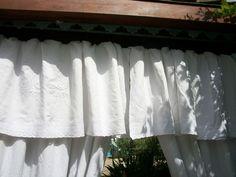 double rideaux en linge ancien