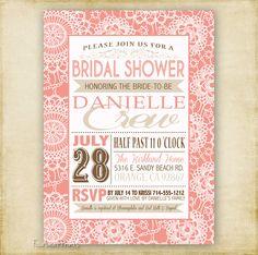 Vintage Lace Poster - Bridal or Baby Shower Invitation - Printable - DIY - 4x6 or 5x7. $15.00, via Etsy.