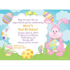 Party with your peeps Invitation for Egg Hunts and Easter Themed