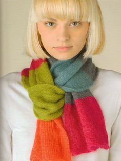 Rowan knitting patterns, Knitted Scarves & Shrugs, Bold Stripe Scarf, from Laughing Hens.  Love the colors