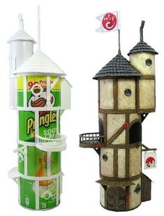 Recycle Reuse Renew Mother Earth Projects: How to make Fairy Houses from Recycled Materials. Some great ideas here! Was hoping for instructions for painting the pringles boxes.my fairy house looks too clean. Pringles Can, Fairy Doors, Fairy Houses, Diy Fairy House, Putz Houses, Faeries, Craft Projects, Craft Ideas, Project Ideas