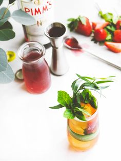 recipe + photo by Jayme Henderson  Having grown up in Florida, I have many fond memories that center around  strawberries. Each weekend during strawberry season, my family and I would  drive 30 minutes to Plant City, famed for its sweet, red berries. We would  happily wait in line at Parksdale Farms, along with nearly half the town,  just to taste some of their famous strawberry shortcake. This cocktail  recipe highlights strawberries in two ways—fresh, and in a shrub (or  drinking…