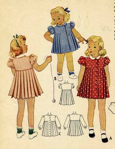 Vintage 40s McCalls 3923 Toddlers Pleated Dress and by RomasMaison, $24.00