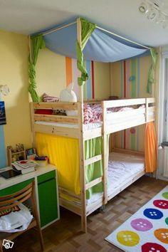 Canopy idea for upper bed. Would probably drape the fabric differently. Ikea Bunk Beds Kids, Kid Beds, Bedroom Door Design, Bedroom Doors, Baby Bedroom, Kids Bedroom, Mydal Ikea, Triple Bunk Beds, Ikea Stockholm