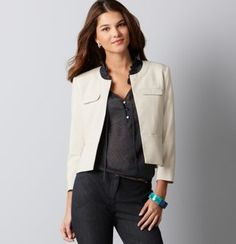 LOFT Lightweight Scuba Jacket  minimalist brief jacket for times that a sundress  is worn to the office.