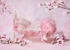 Newborn Photography Digital Photography bed backdrop - Beautiful little baby bed , shot on a custom backdrop and dressed up with pink magnolias.