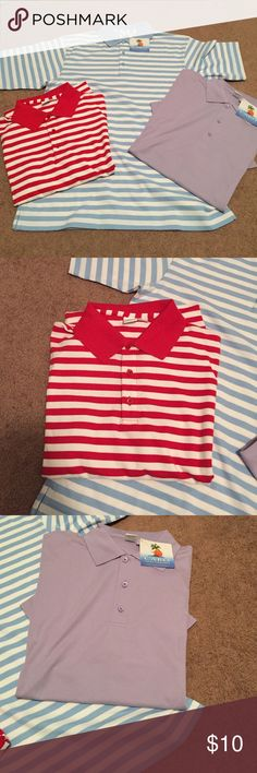 Women's golf polo shirts 3 women's golf polo shirts, the purple one and blur and white striped are NWT, the red was worn once.  All a size medium, 3 button front Cobo Tops Tees - Short Sleeve