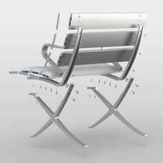 B Bench by Konstantin Grcic for BD Barcelona Design based on the iconic Barcelona Chair by Mies van der Rohe