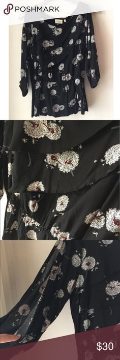 """Anthropologie Wished Blooms Dandelion Blouse Anthropologie Deletta """"Wished Blooms"""" blouse, size small. New with tags. Black with adorable dandelion print all over, 3/4 slit sleeves. Subtle ruffles on front with elastic waist. Anthropologie Tops Blouses"""